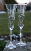 Wedding glasses hand engraving.